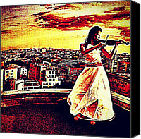 Violin Canvas Prints - #violin #sunset #city #building Canvas Print by Ariel Muttaqin