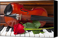 Red Rose Canvas Prints - Violin with rose on piano Canvas Print by Garry Gay