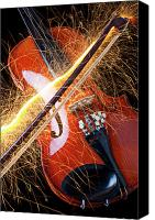 Color Harmony Canvas Prints - Violin with sparks flying from the bow Canvas Print by Garry Gay