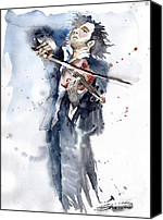 Vatercolour Canvas Prints - Violine player 1 Canvas Print by Yuriy  Shevchuk