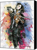 Vatercolour Canvas Prints - Violine player. Canvas Print by Yuriy  Shevchuk