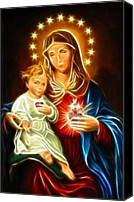 Christian Sacred Canvas Prints - Virgin Mary And Baby Jesus Sacred Heart Canvas Print by Pamela Johnson