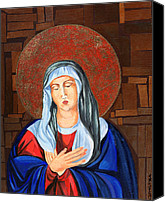 Icon Byzantine Canvas Prints - Virgin Mary Canvas Print by Claudia French