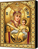 Icon Tapestries - Textiles Canvas Prints - Virgin Mary of Bethlehem Icon Canvas Print by Stoyanka Ivanova