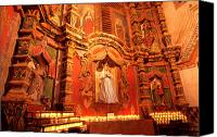 Burning Candles Canvas Prints - Virgin Mary Statue candles Mission San Xavier del Bac Canvas Print by Thomas R Fletcher