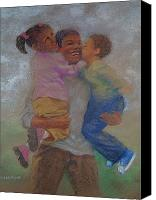 Black Family Pastels Canvas Prints - Visiting Day Canvas Print by Charon Rothmiller