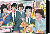 Beatles Pastels Canvas Prints - Visiting Elvis 1965 Canvas Print by Moshe Liron