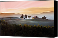 Tuscany Canvas Prints - Vitaleta Chapel At Sunset Canvas Print by Jova photo