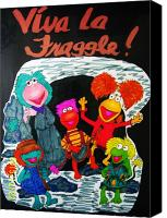Muppets Drawings Canvas Prints - Viva La Fraggle Canvas Print by Amanda Sparrow