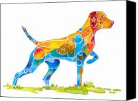 Original Art Canvas Prints - Vizsla on Point Canvas Print by Jo Lynch
