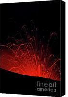 Volcanic Activity Canvas Prints - Volcanic night eruption Canvas Print by Sami Sarkis