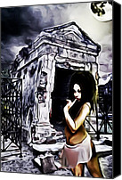 James Griffin Canvas Prints - Voodoo Queen In A New Orleans Cemetery Canvas Print by James Griffin