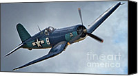 Sports Prints Canvas Prints - Vought F4U Corsair 2011 Chino Air Show Canvas Print by Gus McCrea