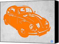 Old Digital Art Canvas Prints - VW Beetle Orange Canvas Print by Irina  March