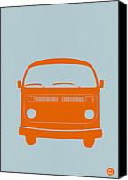 Modernism Canvas Prints - VW Bus Orange Canvas Print by Irina  March