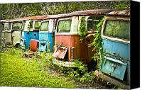Rusted Cars Canvas Prints - VW Buses Canvas Print by Carolyn Marshall