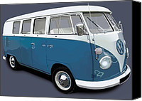 Campervan Canvas Prints - VW Campervan Blue Canvas Print by Richard Herron