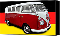 Campervan Canvas Prints - VW Campervan German Flag Canvas Print by Richard Herron