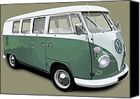Campervan Canvas Prints - VW Campervan Green Canvas Print by Richard Herron