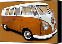 Campervan Canvas Prints - VW Campervan Orange Canvas Print by Richard Herron