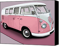 Campervan Canvas Prints - VW Campervan Pink Canvas Print by Richard Herron