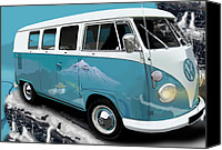 Campervan Canvas Prints - VW Campervan Shangri La Blue Canvas Print by Richard Herron