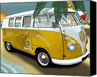 Campervan Canvas Prints - VW Campervan Surfs Up Canvas Print by Richard Herron