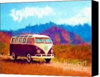 Vw Camper Van Digital Art Canvas Prints - VW Van Classic Canvas Print by Marilyn Sholin