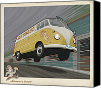 Art Deco Canvas Prints - Vw Van High Speed Delivery Canvas Print by Mitch Frey