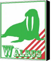 Alphabet Digital Art Canvas Prints - W is for Walrus Canvas Print by Arlissa Vaughn