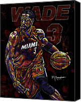 Nba Canvas Prints - Wade Canvas Print by Maria Arango
