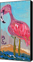 Pink Flamingo Drawings Canvas Prints - Wade Right on In Canvas Print by Mary Carol Williams