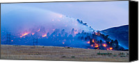 Power Lines Canvas Prints - Wadsworth Ridge Wildfire Canvas Print by Adam Pender