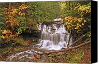 Michigan Waterfalls Canvas Prints - Wagner Falls Canvas Print by Michael Peychich
