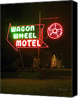 Old Cabins Canvas Prints - Wagon Wheel Motel Canvas Print by Cheri Randolph