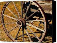 Prairie Sky Art Canvas Prints - Wagon Wheel Canvas Print by Perry Webster