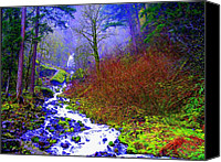 Wahkeena Creek Canvas Prints - Wahkeena falls Oregon Canvas Print by Lisa Rose Musselwhite
