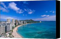 Waikiki Canvas Prints - Waikiki And Diamond Head Canvas Print by William Waterfall - Printscapes