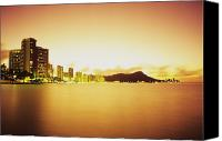 Waikiki Canvas Prints - Waikiki at Sunset Canvas Print by Peter French - Printscapes
