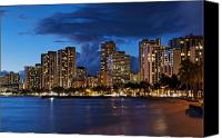 Waikiki Canvas Prints - Waikiki Beach at Nightfall Canvas Print by Bill Bachmann - Printscapes