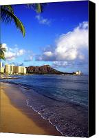 Waikiki Canvas Prints - Waikiki Beach Diamond Head 1985 Canvas Print by Thomas R Fletcher