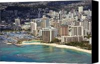 Waikiki Canvas Prints - Waikiki from Above Canvas Print by Ron Dahlquist - Printscapes