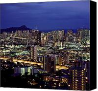 Waikiki Canvas Prints - Waikiki Skyline - Evening Canvas Print by Carl Shaneff - Printscapes