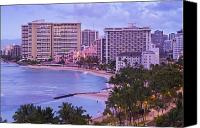 Waikiki Canvas Prints - Waikiki Sunrise Canvas Print by Greg Vaughn - Printscapes