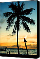 Waikiki Canvas Prints - Waikiki Sunset Canvas Print by DJ Florek