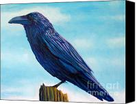 Crow Painting Canvas Prints - Waiting Canvas Print by Brian  Commerford