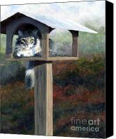 Oil Cat  Canvas Prints - Waiting for Dinner Canvas Print by Pat Burns