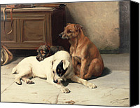 Dogs Canvas Prints - Waiting For Master Canvas Print by William Henry Hamilton Trood