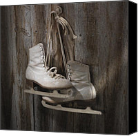Ice-skating Canvas Prints - Waiting for the Pond to Freeze Canvas Print by Jerry McElroy