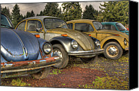 Rusted Cars Digital Art Canvas Prints - Waiting In Line Canvas Print by Jean OKeeffe
